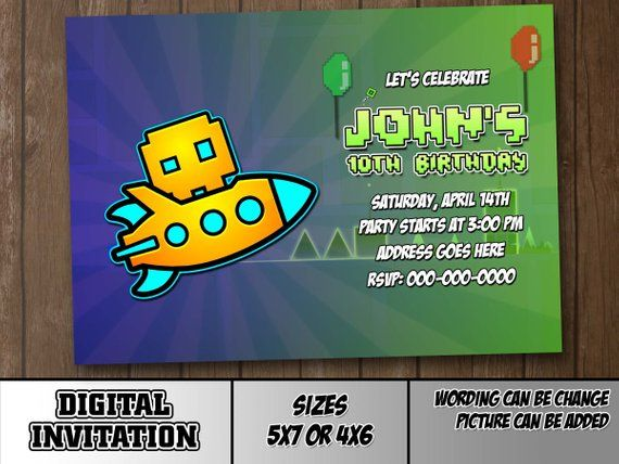 072ba57ed57f Geometry Dash Model 2 Digital Party Invitation Customize Birthday or ...