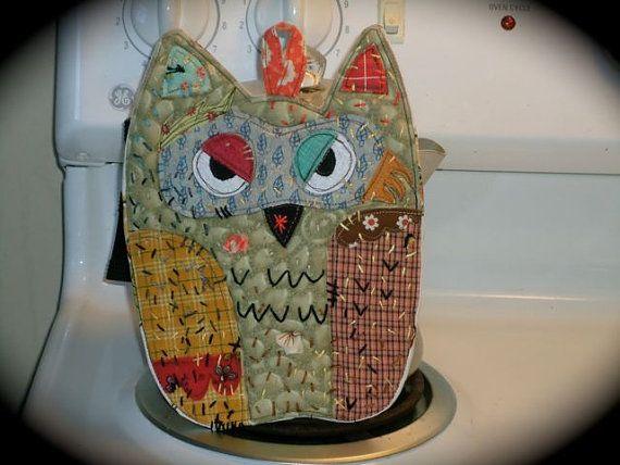Owl potholder Old Market Owl hotpad by BSoriginals on Etsy, $20.00