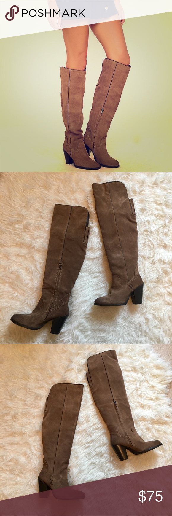 bb20f4494ce Lulu s Mia Nigel Suede Leather Knee High Boots Country meets city chic in  the Mia Nigel Taupe Suede Leather Knee High Boots! Ultra luxe genuine suede  ...