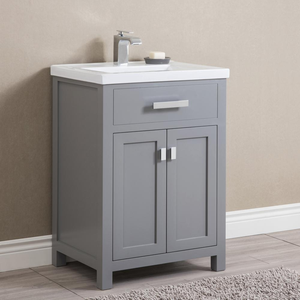 Water Creation Myra 24 In Bath Vanity In Cashmere Grey With Integrated Ceramics Vanity Top And Sink Myra24g The Home Depot Single Bathroom Vanity 24 Inch Bathroom Vanity Bathroom Vanity