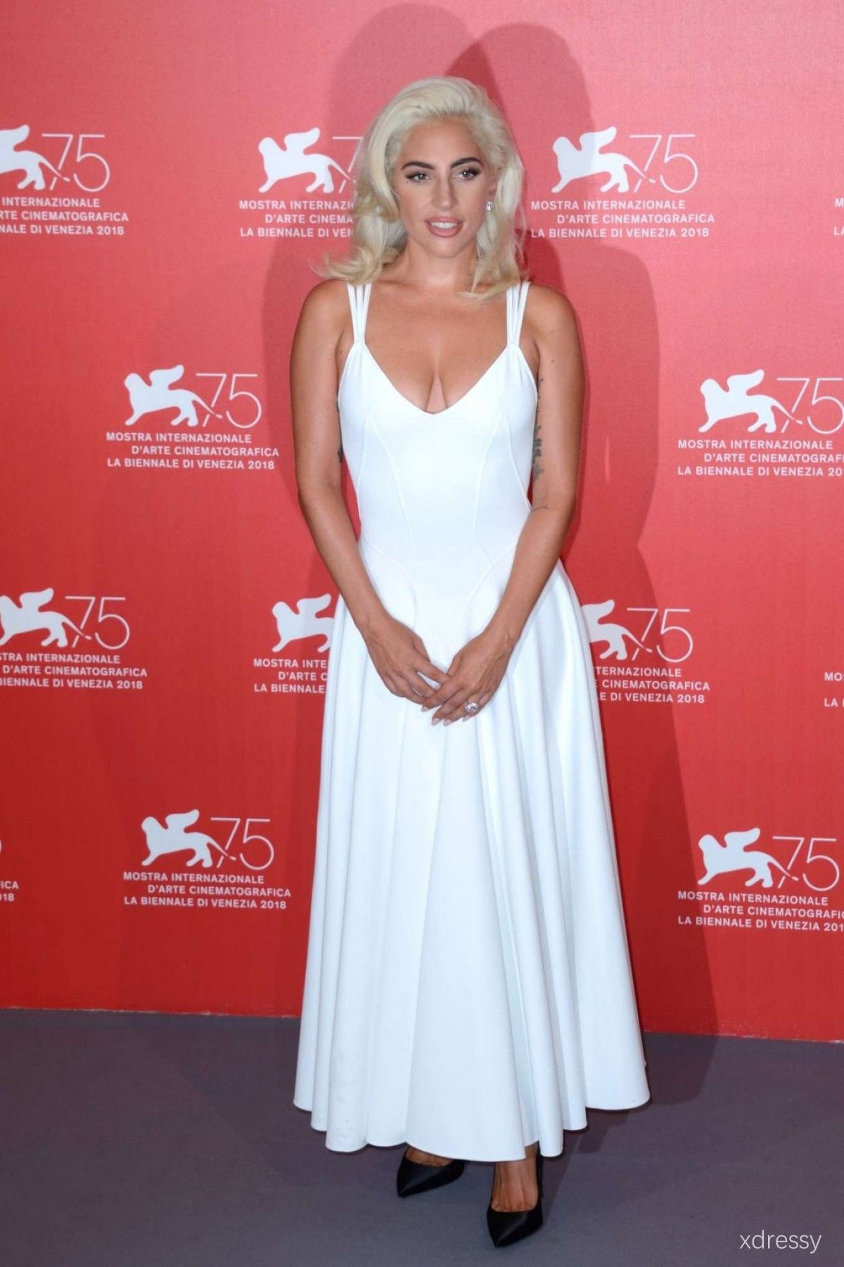 608b2b45c2 Lady Gaga White Scoop Neckline with Shoulder Straps Ankle Length Prom Party  Dress Venice Film Festival 2018 Red Carpet