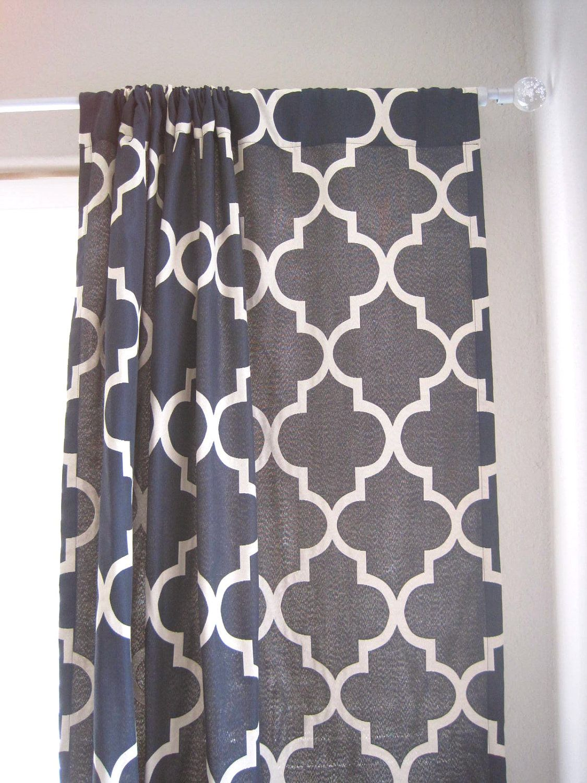 Blue moroccan curtains - 96 Length Pair Of Drapery Panels Moroccan Lattice Quatrefoil Navy Cream