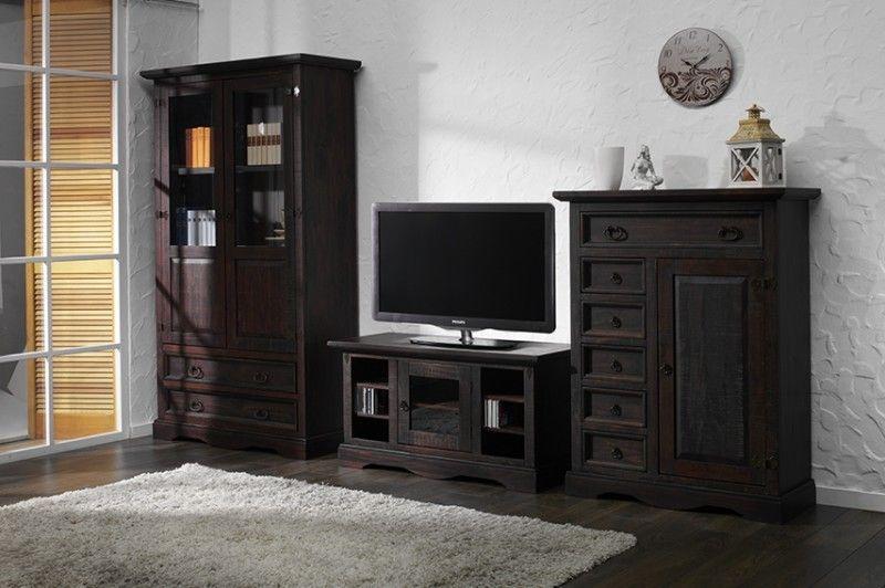 Wohnwand Hersteller wohnwand mojito 3 teilig pinie massiv dunkebraun