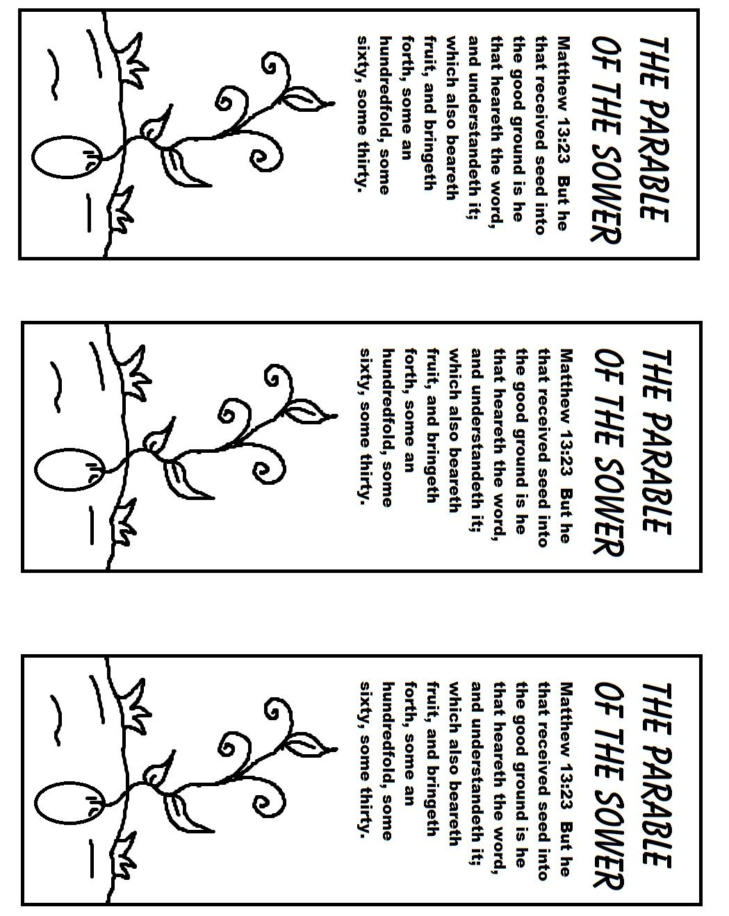 The Parable Of The Sower Bookmark Print Color Glue On Seed