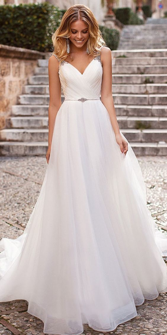 Elegant Tulle V-neck Neckline A-line Wedding Dress With Beadings #greekweddingdresses