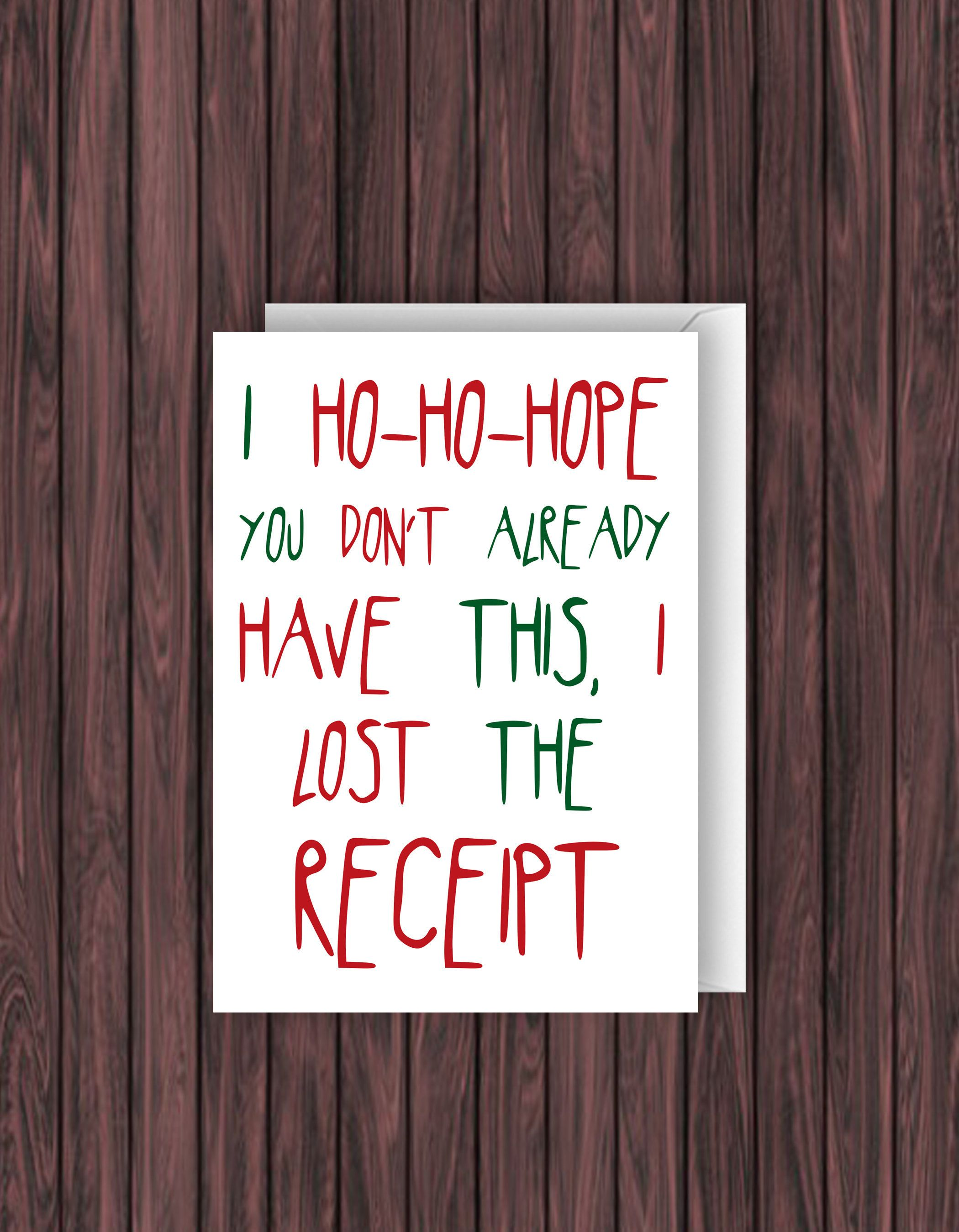 Lost Receipt Christmas Card. Funny Christmas Card. Holiday