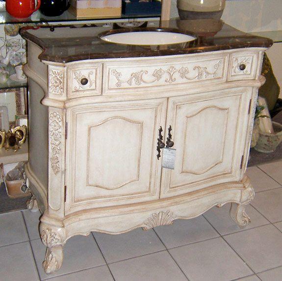 36 Inch Regal Antique Bathroom Vanity, 36 Inch Antique White Bathroom Vanity