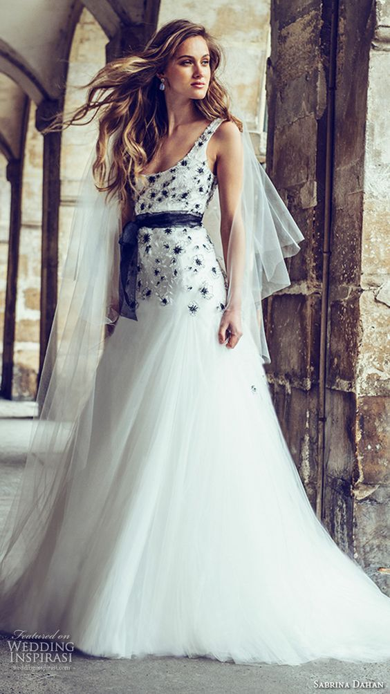 White wedding dress with black beading