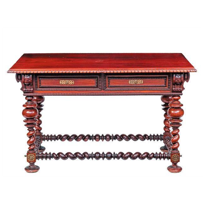 Mesa pasillera en madera de caoba con chambrana perimetral - Patas torneadas de madera ...