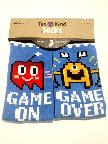 "Hallmark Toe of a Kind Crew Socks ""Game On Game Over"""