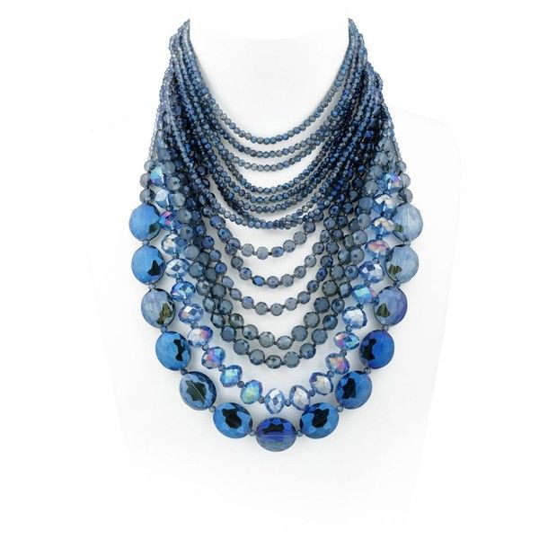 NIGHTMARKET Crystals Multi Strand Necklace - Blue (1.190 BRL) ❤ liked on Polyvore