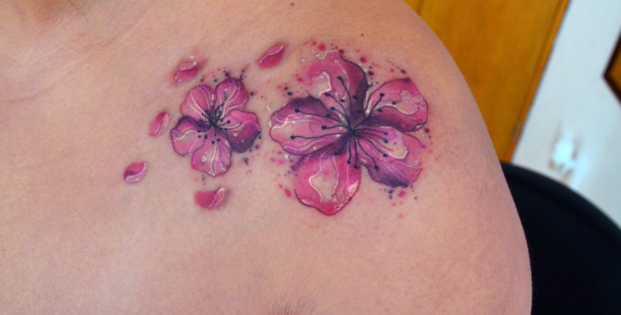 Flores De Cerezo By Javi Wolf Tatuajes Tattoos Flower Tattoos Y