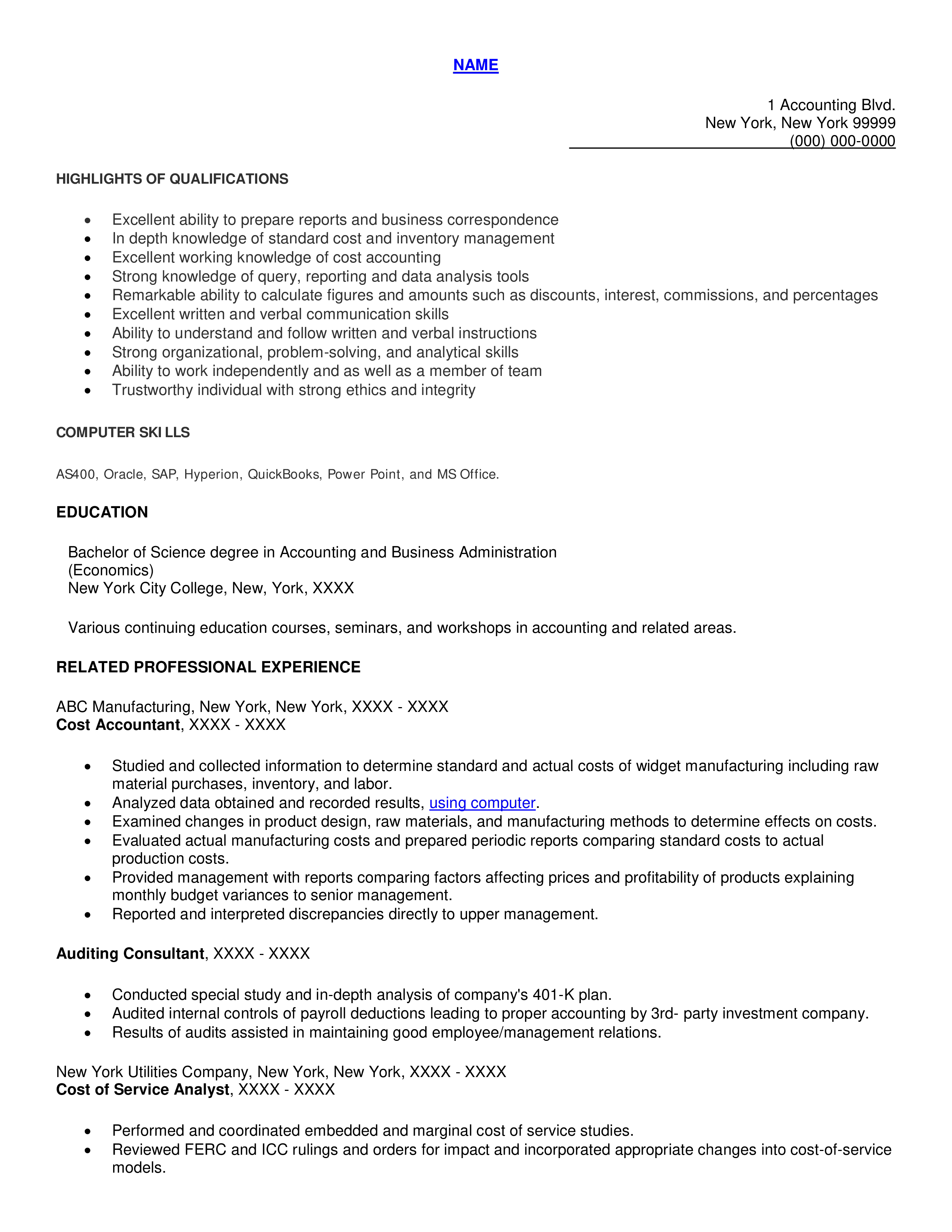Sample Professional Resume For Cost Accountant How To Draft A Professional Resume For Cost Accountant Download Templates Business Correspondence Accounting