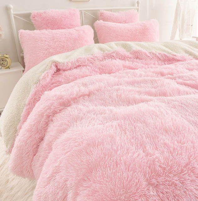 Winlife New Contracted Korean Bedding Sets Beautiful Velvet Bedding Bag Lambs Wool Pure Color Falbala Bed Skir Bedding Sets Plaid Bedding Sets Luxury Bedding