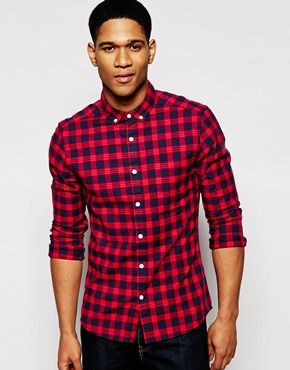 0ba90828a95 ASOS Skinny Check Shirt in Twill with Long Sleeves