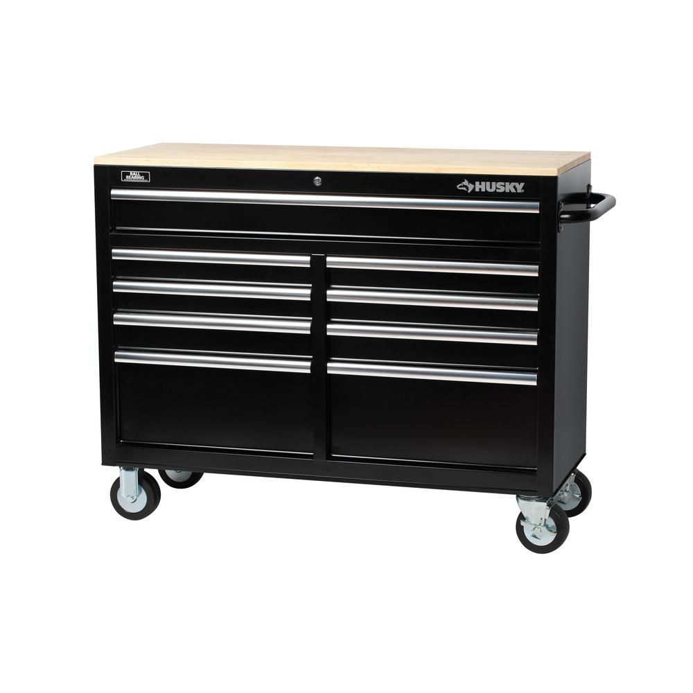 Husky 46 In 9 Drawer Mobile Workbench With Solid Wood Top Black 7440946r The Home Depot Mobile Workbench Workbench Tool Box Metal Storage Cabinets