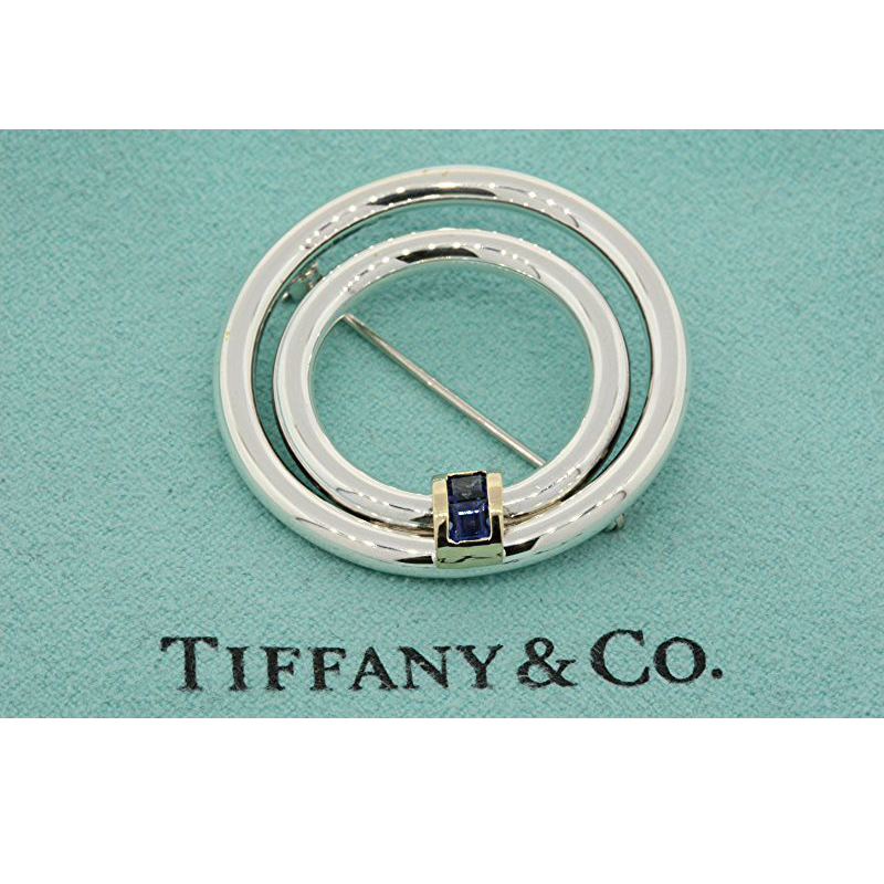Tiffany & Co 14k Yellow Gold & 925 Sterling Silver Princess Blue Sapphire Circle Brooch