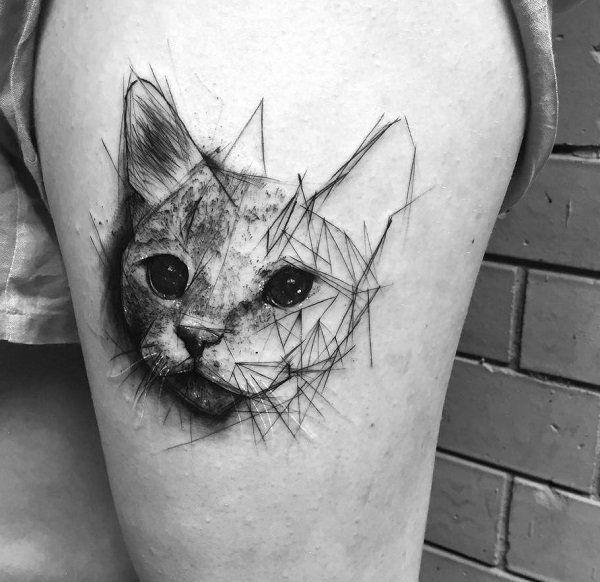 100 Examples Of Cute Cat Tattoo Geometrische Katze Schwarze