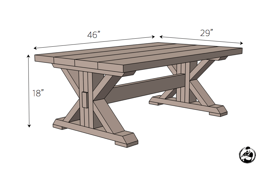 Trestle coffee table free diy plans coffee table plans for Wood table base plans