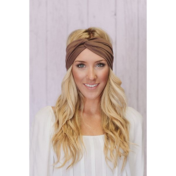 Taupe Turban Headband Stretchy Cotton Workout Fashion Hair Band (T02) ($22) ❤ liked on Polyvore