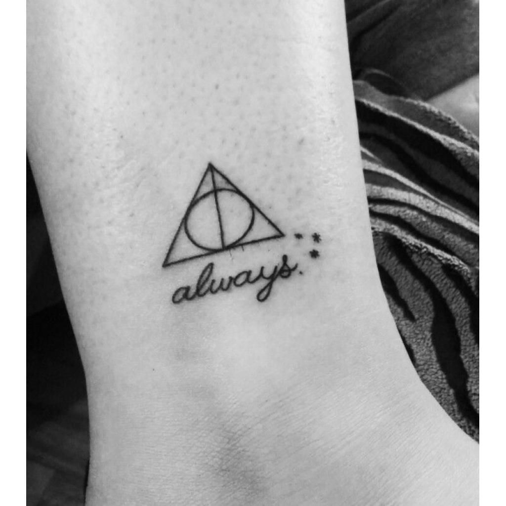 Harry Potter Deathly Hallows Tattoo With Always Potterhead Harrypotter Tattoos Always Harry Potter Tattoo Harry Potter Tattoos Deathly Hallows Tattoo