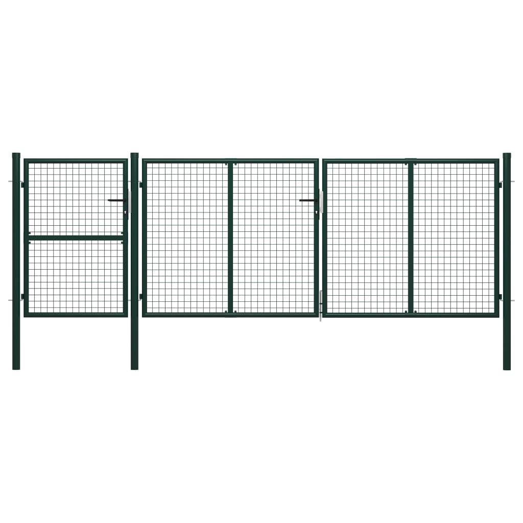 vidaXL Garden Fence Door Green 400 x 125 cm. Steel