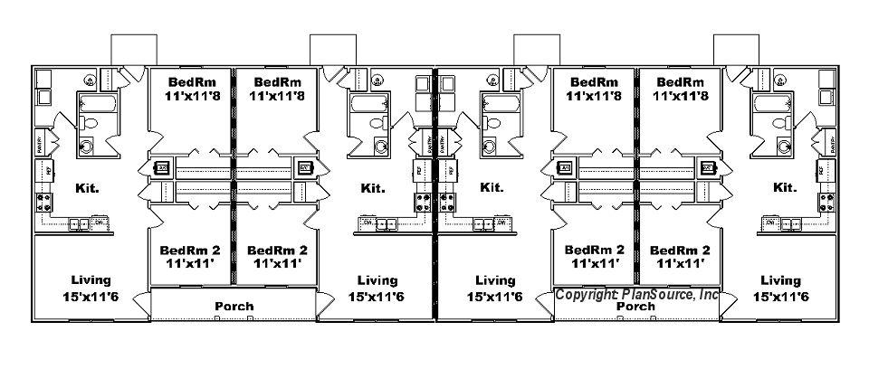Fourplex floor plans 4 plex apartment plan j778 4b for 4 plex house plans