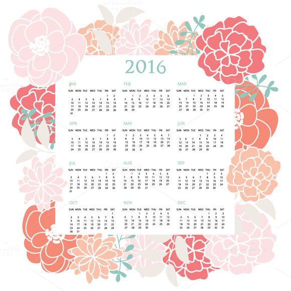 2016 Pastel Floral Calendar Pinterest Pastel floral, Pastels and