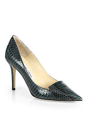 Jimmy Choo Alia Snakeskin Notched Point Toe Pumps -AW14