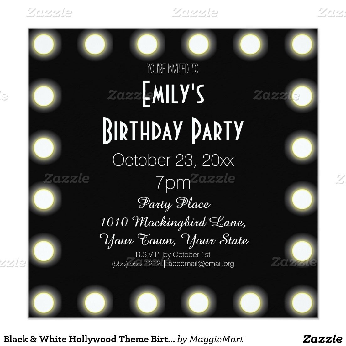 Black & White Hollywood Theme Birthday Party Card | Hollywood ...