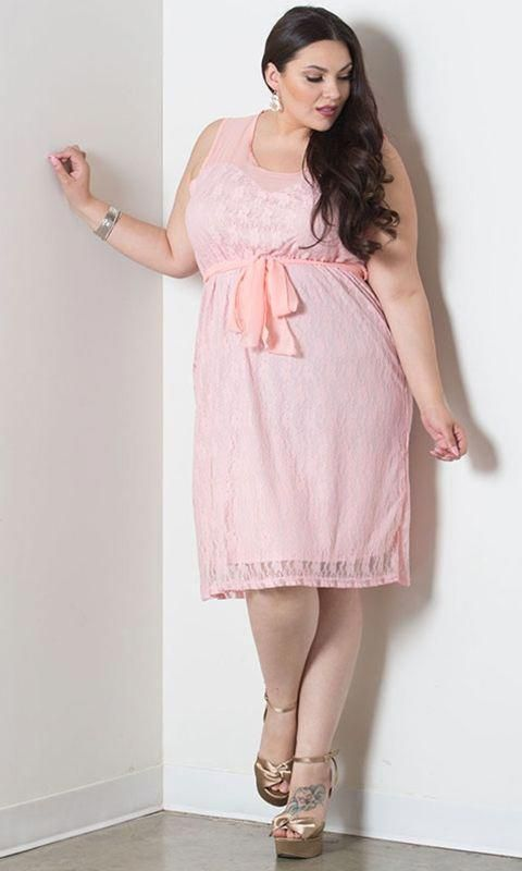 Plus Size Lace Dress Loretta From SWAK Designs - PLUS Model Mag.  Available in colors Rose, Charcoal and Ivory and in sizes 1X-6X.  Fabric:  61% Nylon/35% Polyester/4% Spandex. #plussizefashionforwomenpetite #rosaspitzenkleider