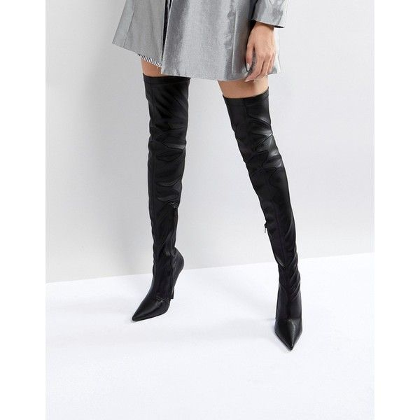 6fc2f42b5272 Public Desire Refuge Black Stiletto Over The Knee Boots ($63) ❤ liked on  Polyvore featuring shoes, boots, black, black pointed toe boots, black over  the ...