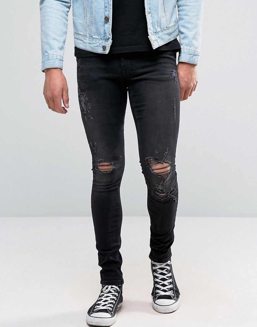 ASOS Extreme Super Skinny Jeans In Washed Black With