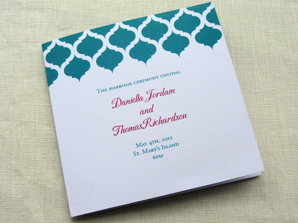 Indian Wedding Program - Modern Arch Ceremony Program - Square - best of invitation card wedding format