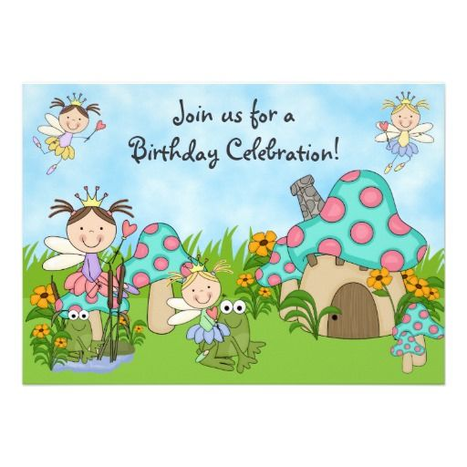 Cute Fairy Princesses and Frogs Birthday Party Invitation ...