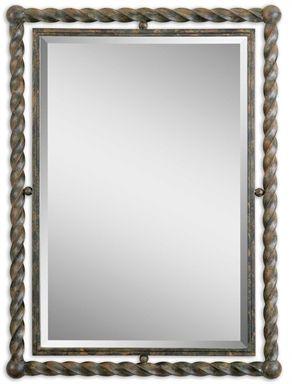 01106 Garrick Mirror Twisted Wrought Iron Rust W 26 H 35 Rectangle