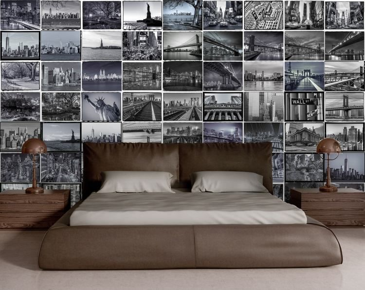 schwarz wei er fototapete mit den new york sehensw rdigkeiten bilder aufh ngen fotocollage. Black Bedroom Furniture Sets. Home Design Ideas