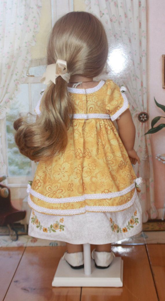 RESERVED American Girl Style Colonial Yellow Rose Dress | American ...