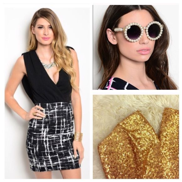 Bundle for @eyoffie Gold sequin dress, black and white drape back dress and Pearl sunglasses. Bundle for @eyoffie Dresses Mini