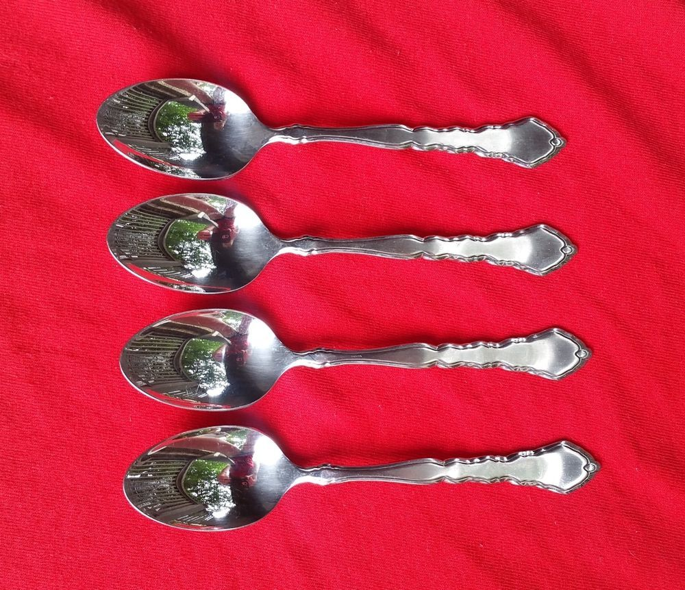 4 Teaspoons Satinique by Oneida Community Stainless Flatware Silverware #Oneida