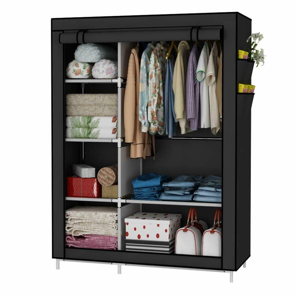 Closet Organizer Wardrobe Clothes Storage Shelves Fabric Cover