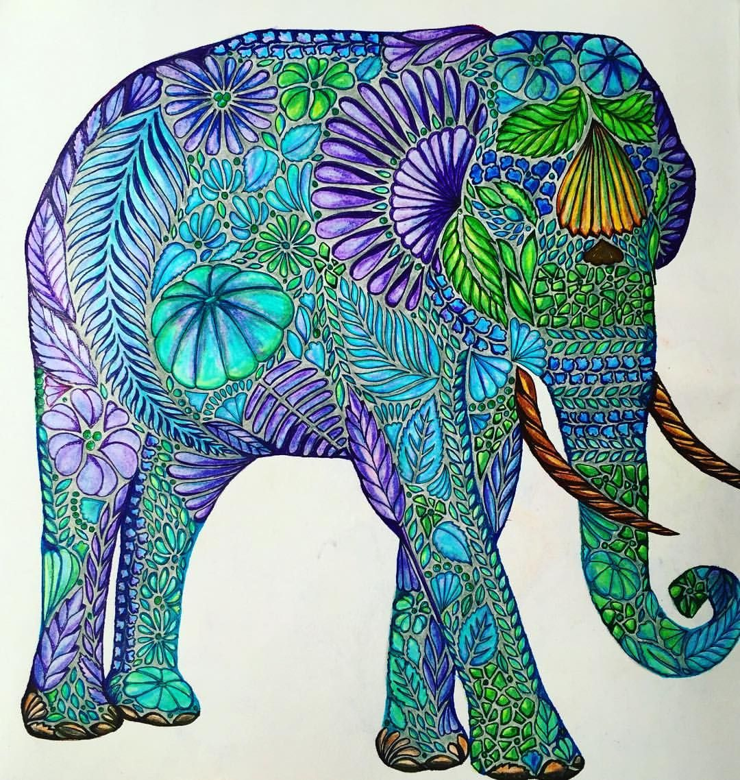 Deanna t au on instagram elephant elephant nature adultcoloringbook completed coloring - Dessin elephant ...