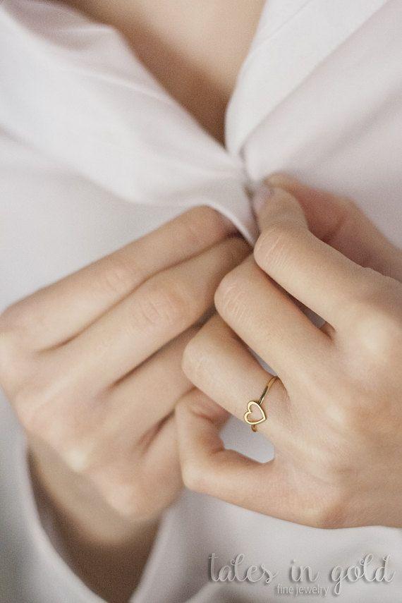 Heart Ring Gold Ring Valentine s Day 14 karat gold Ring
