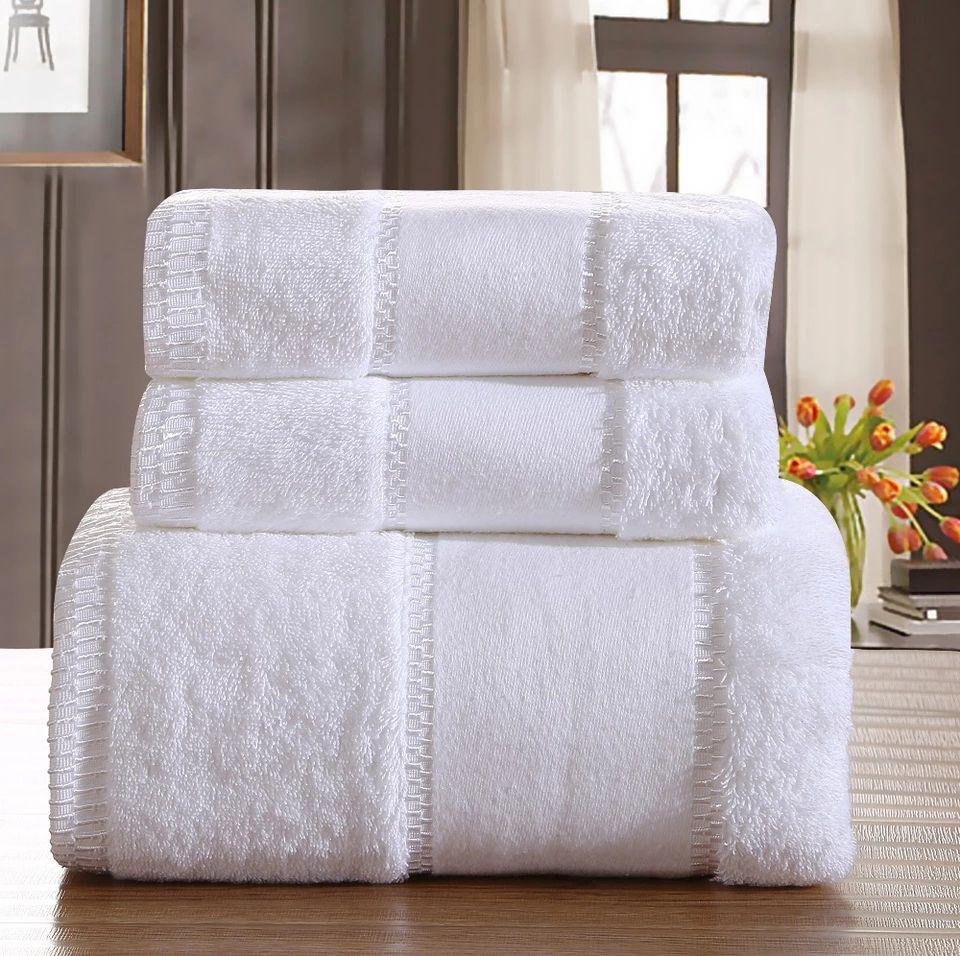 Luxury Five Star Hotel 100 Cotton Brand Bath Towel Sets White