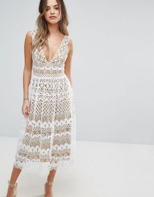 ca3f13f7 Boohoo V Neck Midi Lace Dress | Destination Wedding Fashion | Asos ...