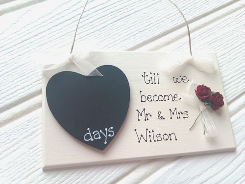 Countdown To Wedding Gifts: Engagement Gift Countdown Chalkboard Personalised Wedding
