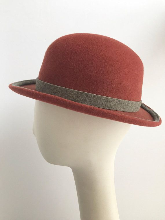 Rust Bowler Formal Felt Hat with Gray Trim  e62c20af7e88