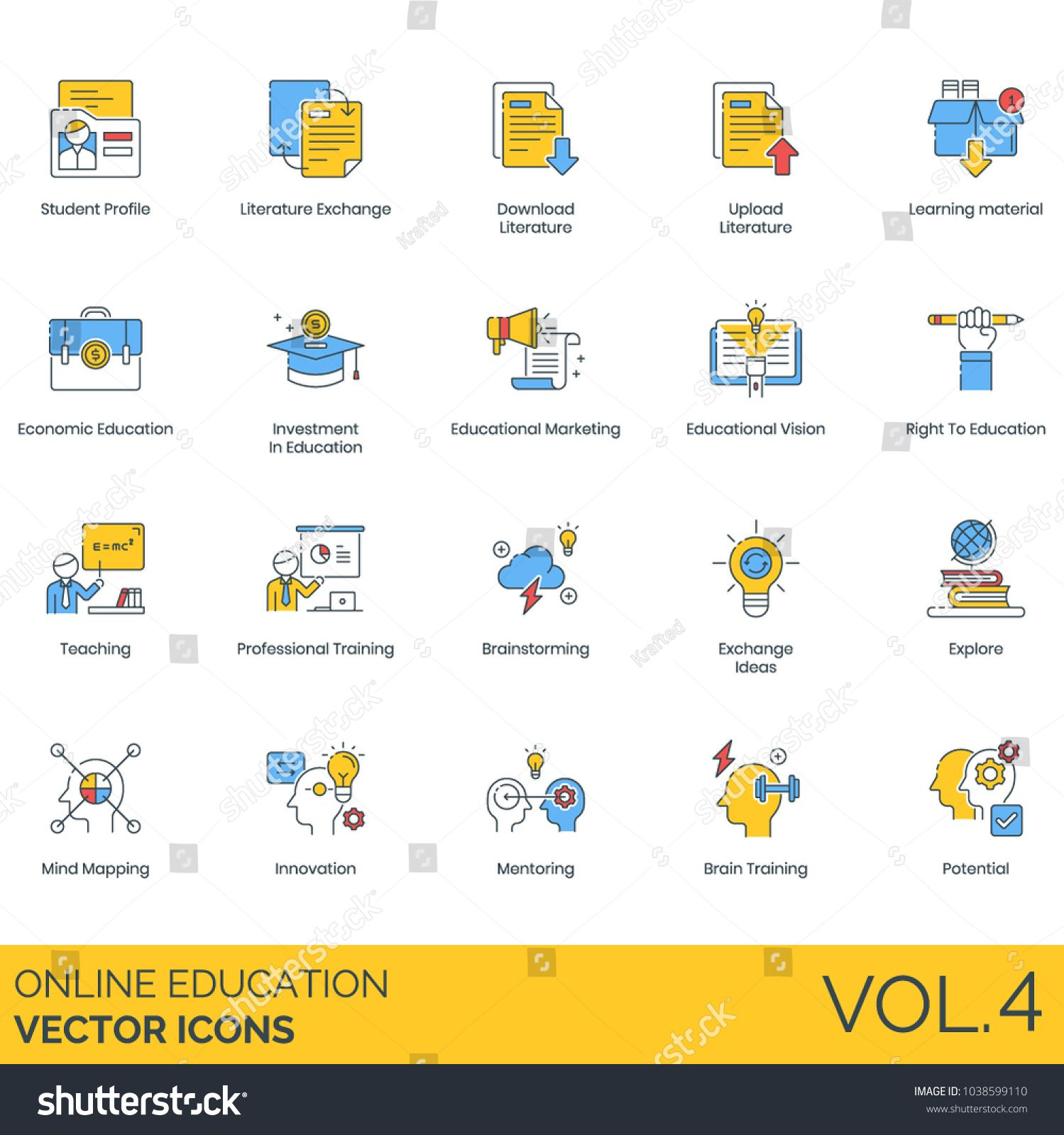 Online Education Vector Icons Student Profile Literature
