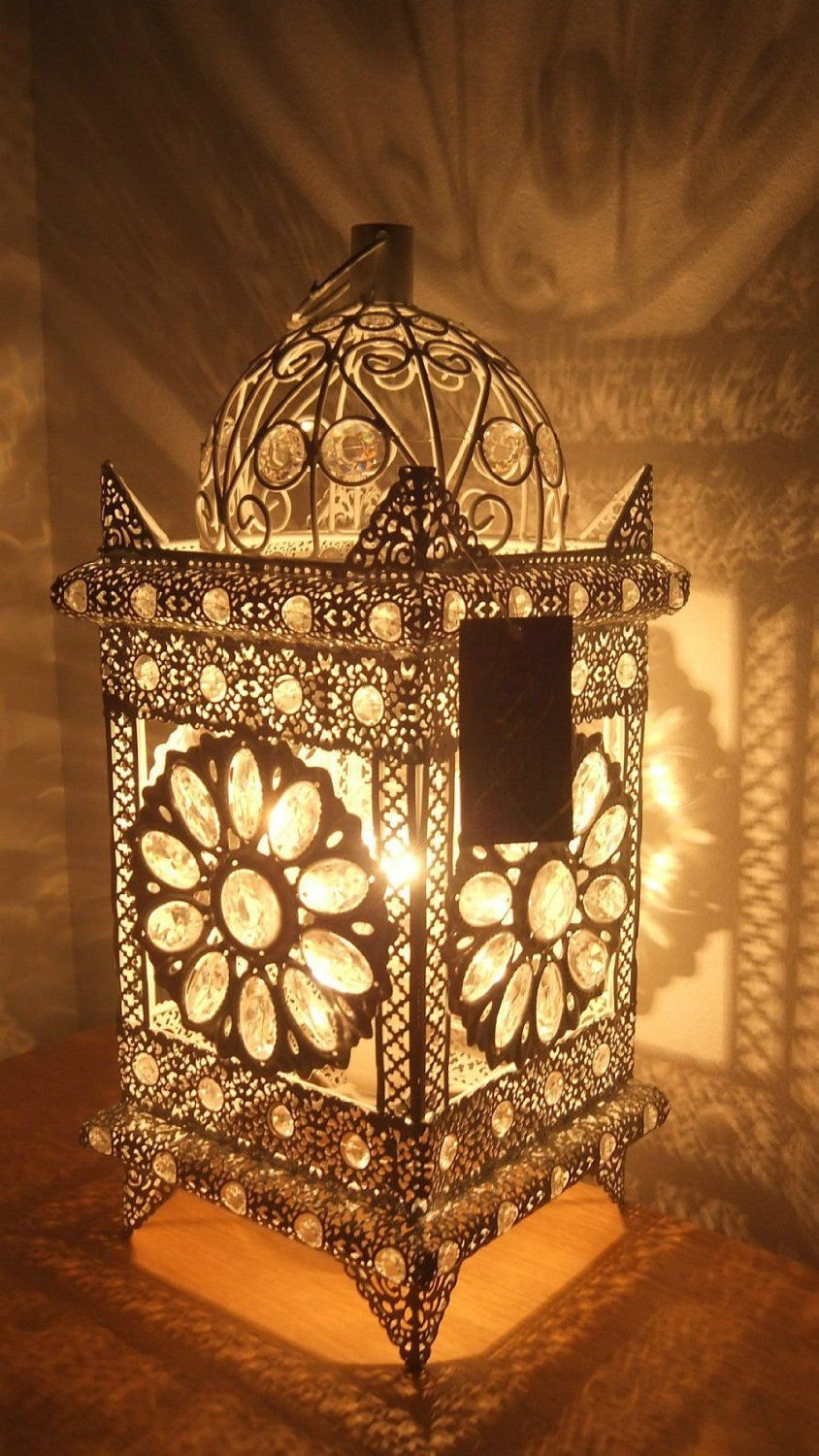 Stunning Moroccan Style Vintage Jeweled Cutwork Flower Table