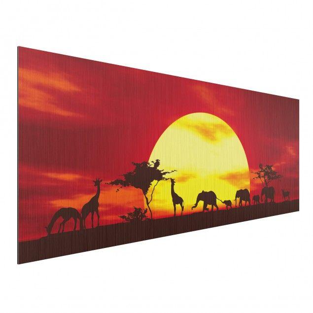 Aluminium Print gebürstet - Wandbild Sunset Caravan - Panorama - wandbild für wohnzimmer